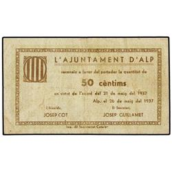 50 Cèntims. 26 Maig 1937. Aj. d´ALP. (Sucio). MUY ESCASO. AT-131; T-182. MBC+. PAPER MONEY OF