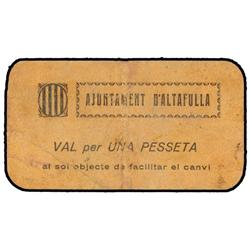 1 Pesseta. S/F. Aj. d´ALTAFULLA. MUY ESCASO. AT-132; T-183. MBC. PAPER MONEY OF THE CIVIL WAR: