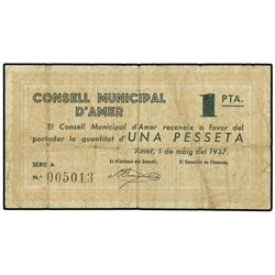 Lote 2 billetes 50 Cèntims y 1 Pesseta. 1 Mayo 1937. C.M. d´AMER. AT-136b y 137a; T-187b, 188a. MBC