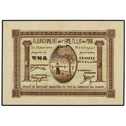 Lote 3 billetes 50 Cèntims (2) y 1 Pesseta. 10 Juny 1937. Aj. de l´AMETLLA DE MAR. AT-138, 139, 141;