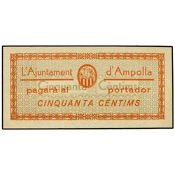 50 Cèntims. Setembre 1937. Aj. d´AMPOLLA. ESCASO. AT-152a; T-208a. SC. PAPER MONEY OF THE CIVI