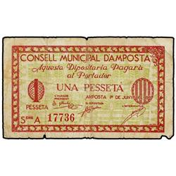 Serie 2 billetes 50 Cèntims y 1 Pesseta. 1 Juny 1937. C.M. d´AMPOSTA. (La de 1 Pesseta, roturas). AT