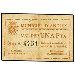 1 Pesseta. 11 Maig 1937. MUNICIPI d´ANGLÈS. (Sucio). AT-157; T-213. MBC+. PAPER MONEY OF THE C
