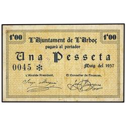 Serie 3 billetes 25 Cèntims (2) y 1 Pesseta. Maig 1937. Aj. de l´ARBOÇ. AT-169/171; T-225/227. MBC y