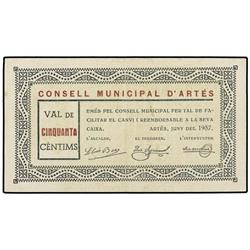50 Cèntims. Juny 1937. C.M. d´ARTÉS. (Algo sucio). ESCASO. AT-218; T-276. MBC+. PAPER MONEY OF