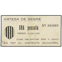 Lote 2 billetes 50 Cèntims y 1 Pesseta. 12 Juliol 1937. Dis. Municipal d´ARTESA DE SEGRE. AT-237, 23