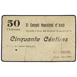 50 Cèntims. Juliol 1937. C.M. d´ASCÓ. (Roturas. Perforación). ESCASO. AT-241; T-302. MBC-. PAP