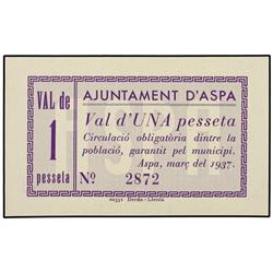 1 Pesseta. Març 1937. Aj. d´ASPA. AT-244a; T-304a. SC. PAPER MONEY OF THE CIVIL WAR: CATALUNYA