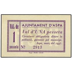 1 Pesseta. Març 1937. Aj. d´ASPA. AT-244; T-189. SC. PAPER MONEY OF THE CIVIL WAR: CATALUNYA
