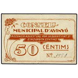 50 Cèntims. S/F. C.M. d´AVINYÓ. ESCASO. AT-251b; T-311b. MBC+. PAPER MONEY OF THE CIVIL WAR: C
