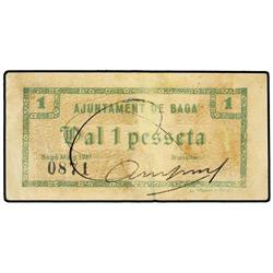 1 Pesseta. Maig 1937. Aj. de BAGÀ. (Reparado). MUY ESCASO. AT-257; T-323. MBC. PAPER MONEY OF
