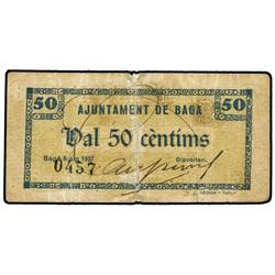 50 Cèntims. Maig 1937. Aj. de BAGÀ. (Reparado). MUY ESCASO. AT-258; T-324. MBC-. PAPER MONEY O