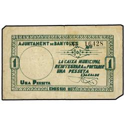 Lote 2 billetes 50 Cèntims y 1 Pesseta. 1937. Aj. de BANYOLES. AT-288, 289; T-355, 356. MBC+ y MBC.