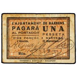 1 Pesseta. S/F. A. de BARBENS. (Sucio). ESCASO. AT-293; T-360. MBC+. PAPER MONEY OF THE CIVIL