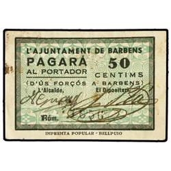 50 Cèntims. S/F. Aj. de BARBENS. (Manchitas). ESCASO. AT-294a; T-361a. MBC+. PAPER MONEY OF TH