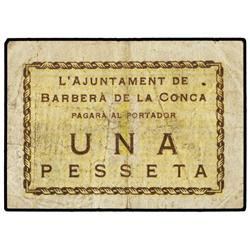 1 Pesseta. S/F. Aj. de BARBERÀ DE LA CONCA. (Sucio). ESCASO. AT-298; T-366. MBC. PAPER MONEY O