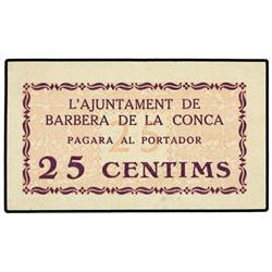 25 Cèntims. S/F. Aj. de BARBERÀ DE LA CONCA. ESCASO. AT-300; T-367. EBC. PAPER MONEY OF THE CI