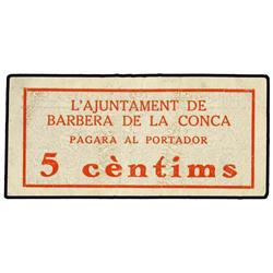 5 Cèntims. S/F. Aj. de BARBERÀ DE LA CONCA. ESCASO. AT-301b; T-368b. MBC+. PAPER MONEY OF THE