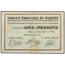 1 Pesseta. 15 Juliol 1937. C.M. de BEGUDÀ. (Sucio). AT-336; T-401. MBC+. PAPER MONEY OF THE CI