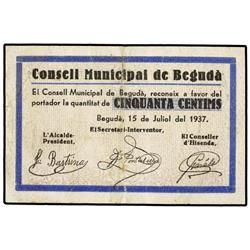 50 Cèntims. 15 Juliol 1937. C.M. de BEGUDÀ. AT-337; T-402. MBC+. PAPER MONEY OF THE CIVIL WAR: