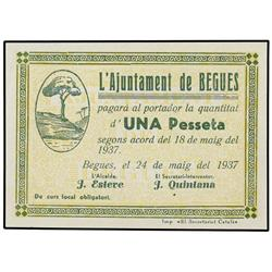 Lote 4 billetes 0,25, 0,50 y 1 Pesseta. 24 Maig 1937. Aj. de BEGUES. AT-342, 343b, 344c, 345c; T-410