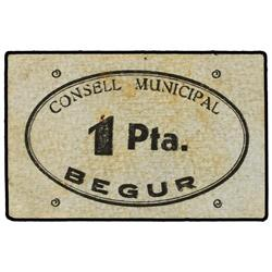 1 Pesseta. S/F. C.M. de BEGUR. (Sucio). ESCASO. AT-346; T-414. MBC+. PAPER MONEY OF THE CIVIL