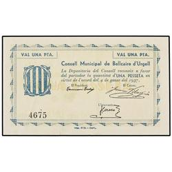 1 Pesseta. 4 Gener 1937. AT-368c; T-439c. EBC+. PAPER MONEY OF THE CIVIL WAR: CATALUNYA