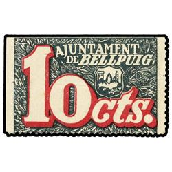 10 Cèntims. S/F. Aj. de BELLPUIG. Cartulina. ESCASO. AT-382; T-455. MBC+. PAPER MONEY OF THE C