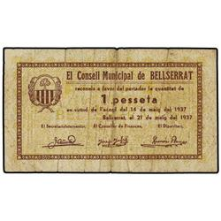 Serie 2 billetes 50 Cèntims y 1 Pesseta. 21 Maig 1937. C.M. de BELLSERRAT. (Pequeñas roturas). AT-38
