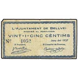 25 Cèntims. Juny 1937. Aj. de BELLVEI. (Sucio). ESCASO. AT-390; T-463. MBC. PAPER MONEY OF THE