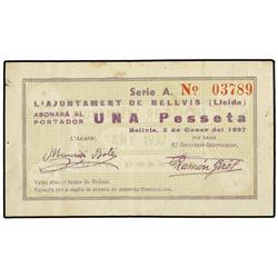 1 Pesseta. 3 Gener 1937. Aj. de BELLVIS. MUY ESCASO. AT-398; T-471. MBC. PAPER MONEY OF THE CI