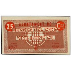 25 Cèntims. S/F. Aj. de BORGES DEL CAMP. ESCASO. AT-498; T-588. SC. PAPER MONEY OF THE CIVIL W