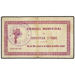 1 Pesseta. Juliol 1937. C.M. de GINESTAR D´EBRE. (Leves roturas). ESCASO. AT-1118; T-1294. MBC. <br