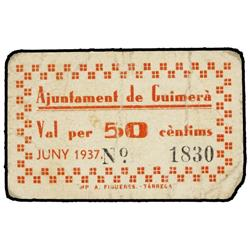 50 Cèntims. Juny 1937. Aj. de GUIMERÀ. Cartón. ESCASO. AT-1218; T-1395. MBC. PAPER MONEY OF TH