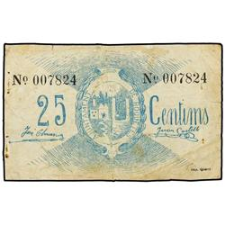 25 Cèntims. S/F. Aj. de ROQUETES. (Roturas). ESCASO. AT-2206; T-2547. MBC-. PAPER MONEY OF THE