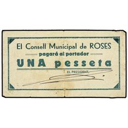 Lote 2 billetes 50 Cèntims y 1 Pesseta. s/F. C.M. de ROSES. AT-2212, 2213; T-2553, 2558a. MBC y MBC-