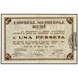 Lote 3 billetes 50 Cèntims y 1 Pesseta (2). 14 Maig 1937. C.M. de RUBÍ. AT-2226, 2227; T-2567, 2568.