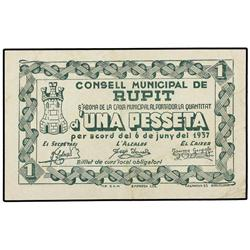 1 Pesseta. 6 Juny 1937. C.M. de RUPIT. ESCASO. AT-2230a; T-2571a. MBC+. PAPER MONEY OF THE CIV