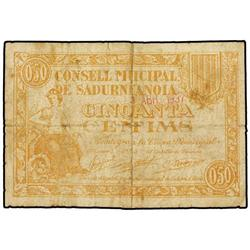 50 Cèntims. 21 Abril 1937. C.M. de SADURNÍ D´ANOIA. (Roturas). ESCASO. AT-2242; T-2580. BC+. P