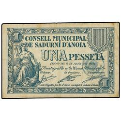 Lote 3 billetes 25, 50 Cèntims y 1 Pesseta. 15 Juliol 1937. C.M. de SADURNÍ D´ANOIA. AT-2243/2245; T