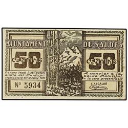 50 Cèntims. 10 Juny 1937. Aj. de SALDES. ESCASO. AT-2254a; T-2592a. EBC+. PAPER MONEY OF THE C