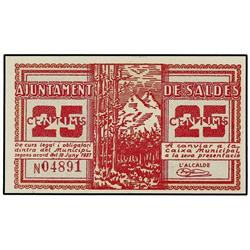 25 Cèntims. 10 Juny 1937. Ay. de SALDES. ESCASO. AT-2255; T-2593. SC. PAPER MONEY OF THE CIVIL