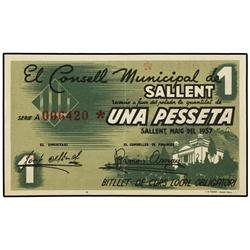 Lote 3 billetes 25, 50 Cèntims y 1 Pesseta. Maig 1937. C.M. de SALLENT. AT-2258/2260; T-2596/2598. M