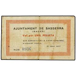1 Pesseta. 18 Juny 1937. Aj. de SASSERRA. AT-2301; T-2664. MBC-. PAPER MONEY OF THE CIVIL WAR: