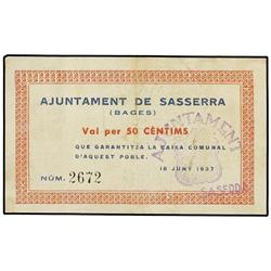 50 Cèntims. 18 Juny 1937. Aj. de SASSERRA. AT-2302a; T-2667a. MBC+. PAPER MONEY OF THE CIVIL W