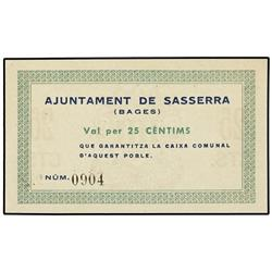 25 Cèntims. S/F. Aj. de SASSERRA. AT-2303b; T-2668b. SC. PAPER MONEY OF THE CIVIL WAR: CATALUN