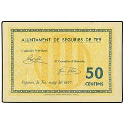 50 Cèntims. Maig 1937. Aj. de SEGURÍES DE TER. ESCASO. AT-2312; T-2678. EBC+. PAPER MONEY OF T