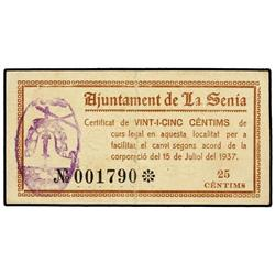 25 Cèntims. 15 Juliol 1937. Aj. de LA SÈNIA. AT-2332; T-2700. MBC+. PAPER MONEY OF THE CIVIL W