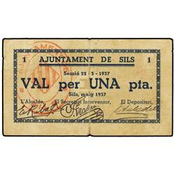 Lote 2 billetes 50 Cèntims y 1 Pesseta. 22 Maig 1937. Aj. de SILS. (Reparaciones). AT-2377, 2378; T-