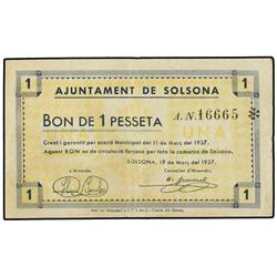 1 Pesseta. 19 Març 1937. Aj. de SOLSONA. AT-2387; T-2777. MBC+. PAPER MONEY OF THE CIVIL WAR: